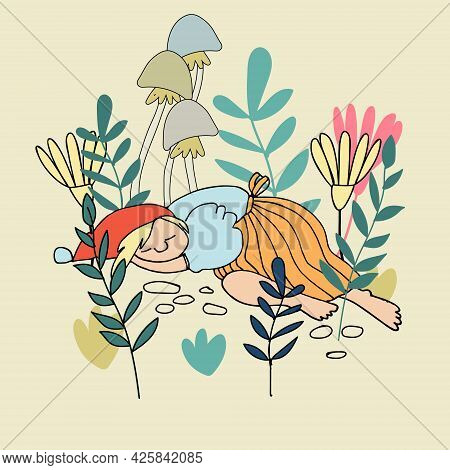Funny Female Gnome Sleeping Tired In The Forest. Fairy Tale Elf Girl In Cartoon Style. Vector Illust