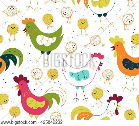 Chickens,  Hen And Rooster - Vector Seamless Pattern. Loop Pattern For Fabric, Textile, Posters, Gif