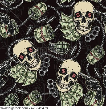 Gangster And Money Colorful Seamless Pattern With Skulls Metal Chains Grenades Bullets Guns Knuckles
