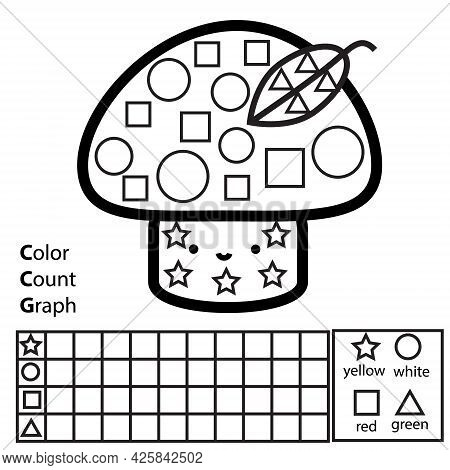 Color, Count And Graph. Educational Children Game. Color Mushroom And Counting Shapes. Printable Wor