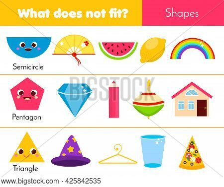 Educational Children Game. What Does Not Fit Type. Learning Geometric Shapes In Life. Worksheet For