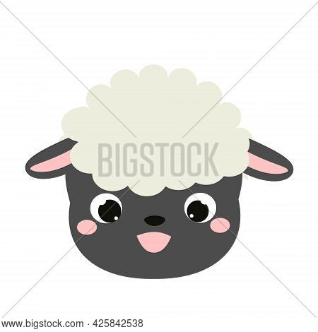 Cute Sheep Face. Cartoon Kawaii Lamb Animal Icon