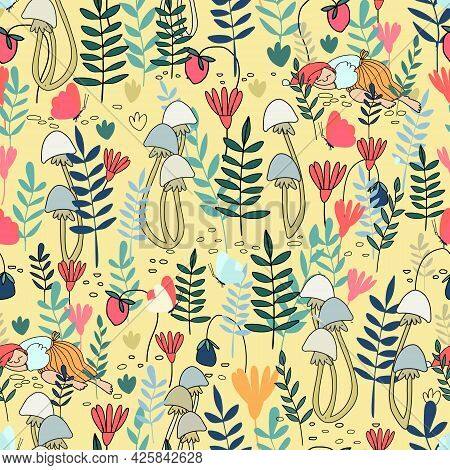 Seamless Pattern With Little Female Gnome Sleeping In The Forest. Fairy Tale Elf Girlls In The Fores