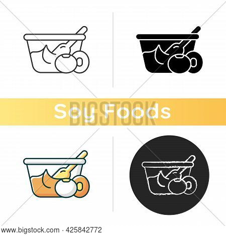 Miso Icon. Naturaly Made Paste From Soy Beans. Popular Vegetarian Snacks. Healthy Foods Containing N