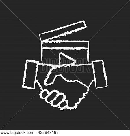 Business To Business Videos Chalk White Icon On Dark Background. B2b Service In Filmmaking Industry.