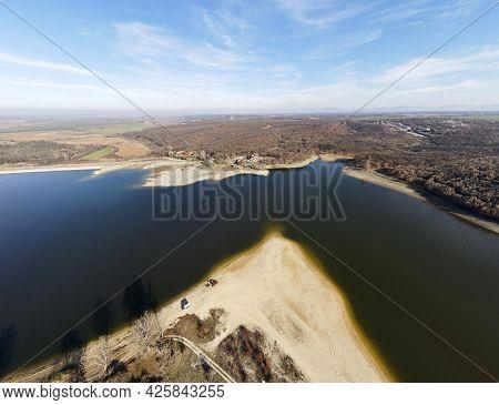 Aerial Panorama Of The Forty Springs Reservoir Near Town Of Asenovgrad, Plovdiv Region, Bulgaria