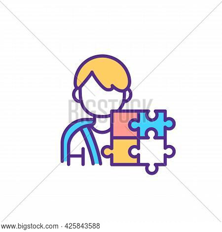 Child With Autism Rgb Color Icon. Inclusive Education. Isolated Vector Illustration. Delayed Cogniti