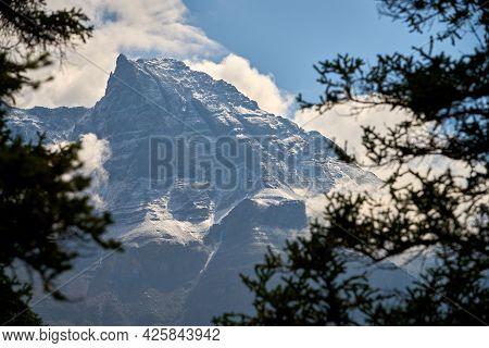 Rocky Mountain Peak Banff National Park. Majestic Rocky Mountain Peaks In The Clouds In Banff Nation