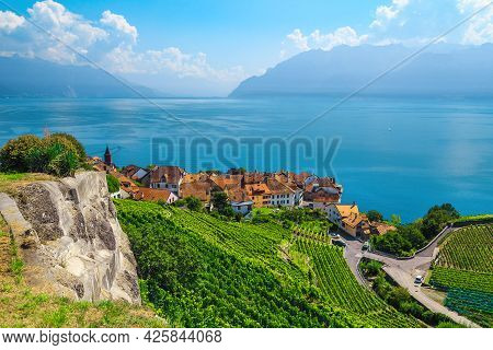 Beautiful View From The Hill With Terraced Vineyards And Rivaz Village On The Shore Of The Geneva La