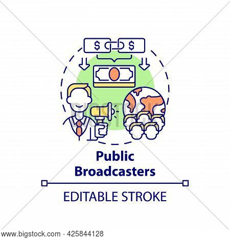Public Broadcasters Fundraiser Concept Icon. Fundraising Type Abstract Idea Thin Line Illustration.