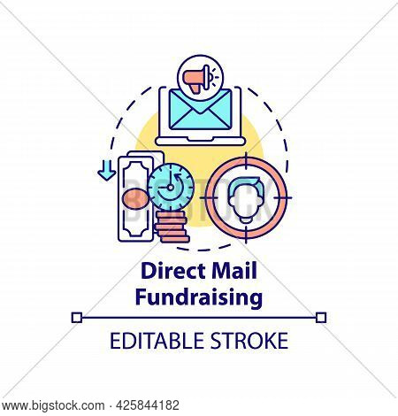 Direct Mail Fundraising Concept Icon. Charity Event Kind Abstract Idea Thin Line Illustration. Direc