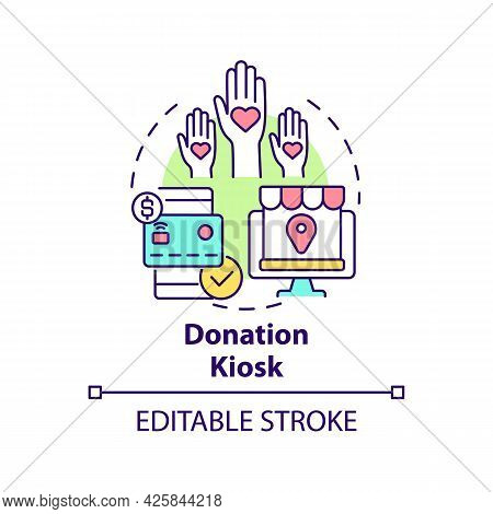 Donation Kiosk Concept Icon. Fundraising Event Abstract Idea Thin Line Illustration. Collecting Gift