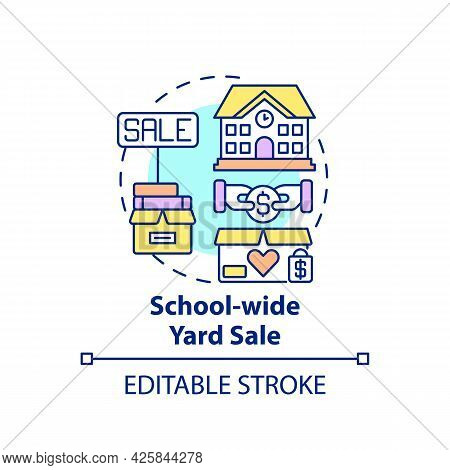 School-wide Yard Sale Concept Icon. Fundraising Appeal Abstract Idea Thin Line Illustration. Earning