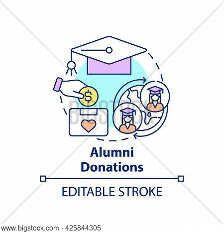 Alumni Donations Concept Icon. Fundraising Appeal Abstract Idea Thin Line Illustration. Supporting C
