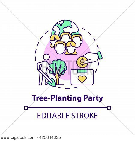 Tree-planting Party Fundraiser Concept Icon. Fundraising Campaign Abstract Idea Thin Line Illustrati