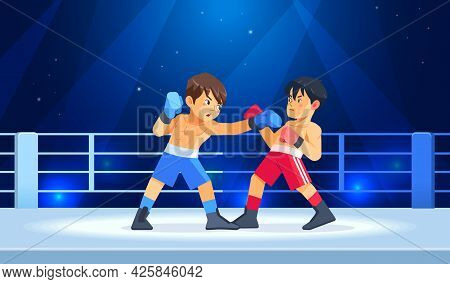 Box Professional Match Among Young Boys. Teen Boxing, Kickboxing Children On Arena. Guys Boxers Figh