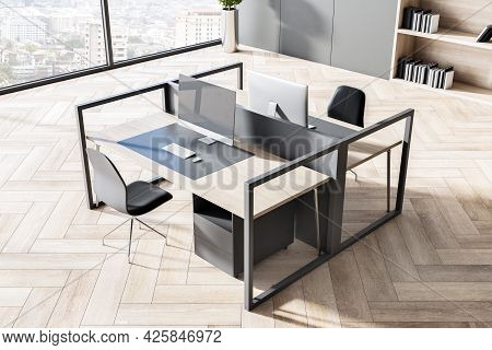 Clean Coworking Office Interior With Wooden Flooring, Concrete Walls, Windows With Panoramic City Vi
