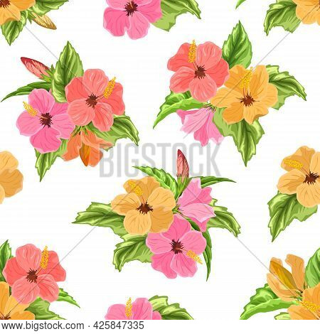 Hibiscus Bouquets In A Color Pattern.multi-colored Bouquets Of Hibiscus On A White Background In A V