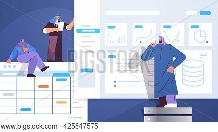 Arab Businesspeople Team Analyzing Charts And Graphs Data Analysis Planning Company Strategy Teamwor