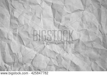 Crumpled Paper Texture Background, Gray Creased Paper.