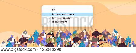 Arabic People Crowd Choosing Hr In Search Bar Human Resources Recruitment Hiring Internet Networking