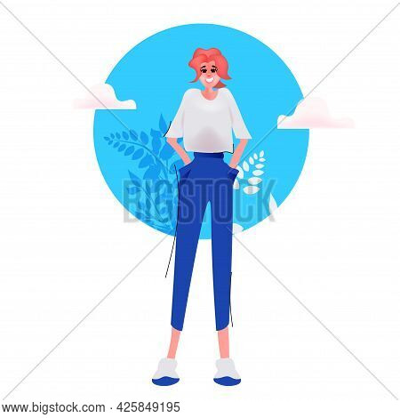 Beautiful Young Woman In Casual Clothes Female Cartoon Character Standing Pose