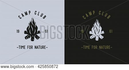 Burning Bonfire With Flame For Camping Trip Design