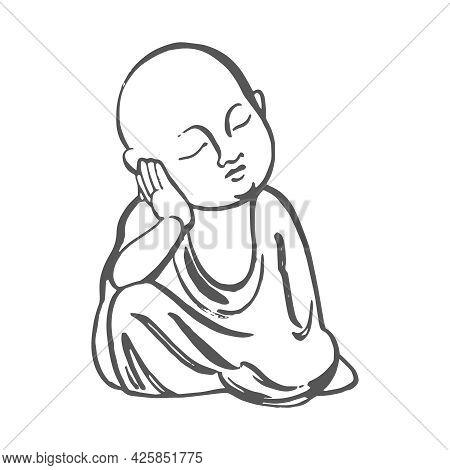 Tea Ceremony. Buddha Figurine. Vector Hand Drawn Illustration.