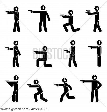 Stick Figure Shooter Man With Gun And Ear Protection Various  Poses Vector Icon Illustration Set. St