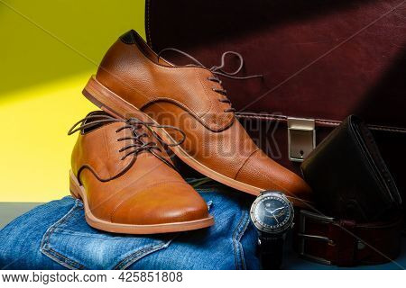 Collection Of Men's Accessories. Men's Shoes, Jeans, Belt, Watch, Wallet With Money And Briefcase. M