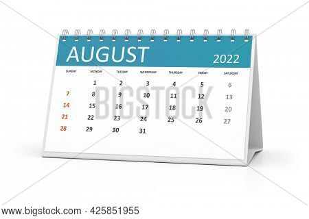 a table calendar for your events 2022 august. 3d illustration