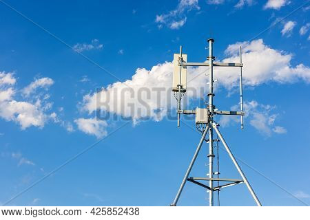 Telecommunication Tower Of Technology 4g And 5g Cellular. Macro Base Station Or Base Transceiver Sta