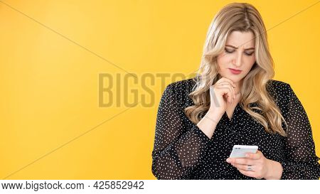 Social Media Anxiety. Mobile Spam. Unwanted Communication. Body Positive. Pensive Confused Overweigh
