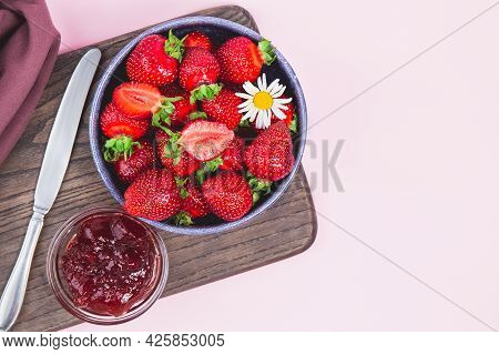 Homemade Strawberry Jam Or Strawberry Jelly With Fresh Ripe Strawberries On A White Plate. Breakfast
