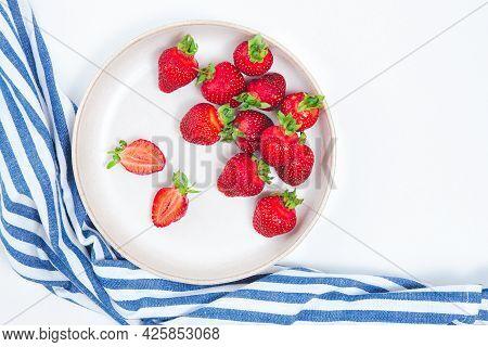 Flat Plate Full Of Fresh Strawberries. Fresh Ripe Red Strawberry Background. Seasonal Harvest Of Str
