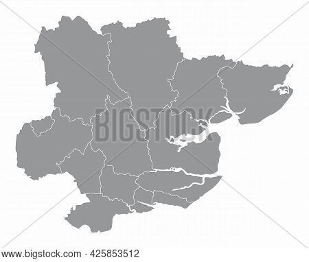 The Essex County Administrative Map Isolated On White Background, England
