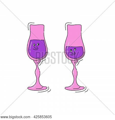 Liquor Glassware With Smile Face On White Background. Cartoon Sketch Graphic Design. Doodle Style Wi