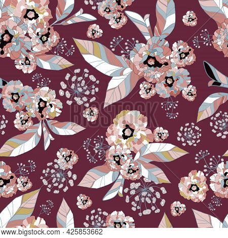 Tropic Exotic Flowers, Orchid, Plumeria. In Trendy Burgundy Background With Pink, Grey, Beige Leaves