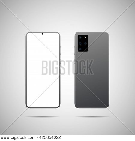 Realistic Vector Illustration. Front And Back Side Smartphone. Mock-up Screen Smartphone With Blank