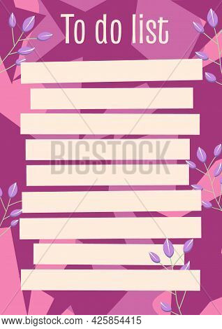 A To-do List Planner With Doodle-style Flowers And Pink Stars. Vector Illustration Of A To-do Planne