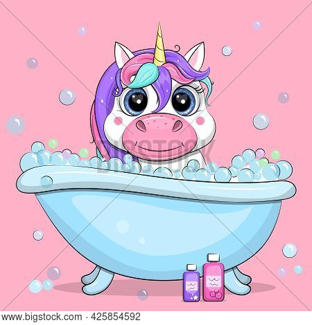 A Cute Cartoon Unicorn Is Taking A Bath. Vector Illustration On A Pink Background With Bubbles.