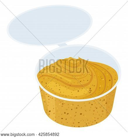 Mustard Sauce In Small Plastic Bowl On White Background, Delicious Cartoon Food Condiment. Vector Il