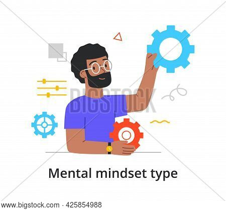 Concept Of The Type Of Mental Thinking With A Man With A Technical Mindset. Bearded Male Engineer Or