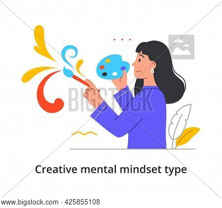 Creative Type Of Person With Imaginative Mental Mindset Showing A Woman Artist Painting A Free-flowi
