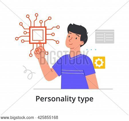 Concept Of Type Of Mental Thinking With Man With Technical Mindset. Male Microelectronics Engineer O