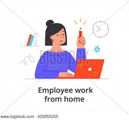 Company Employee Working From Home, Remote Working Or Telecommuting During The Covid-19 Pandemic Wit