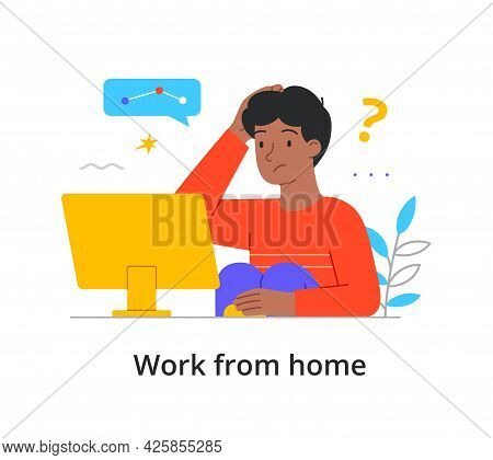 Young Man Working From Home On A Computer Trying To Solve A Problem With Chat Box And Question Mark,