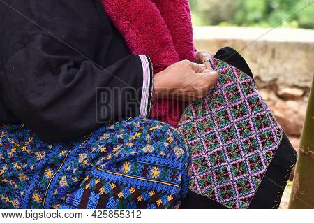 Close-up Hand Female Mien Hilltribe Embroider Pattern Colored Thread