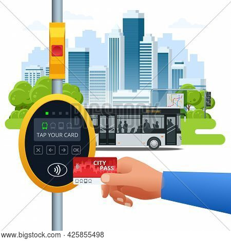 Hand Using Paper Smart Card Ticket To Pay Money For Transportation At Payment Kiosk Stand. E-ticket