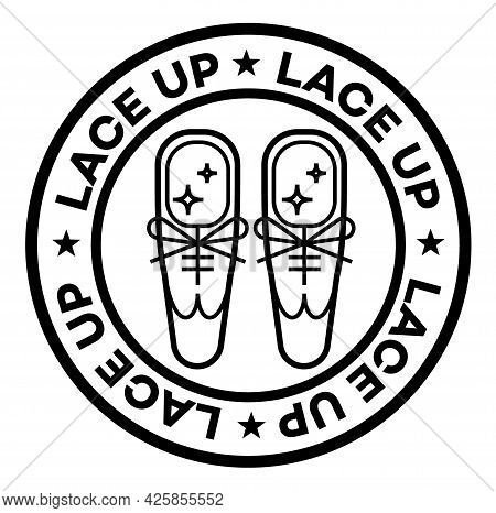 Lace Up Isolated On White Sign , Badge, Stamp